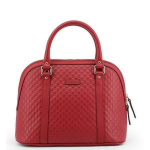 Gucci microguccissima red leather satchel handbag